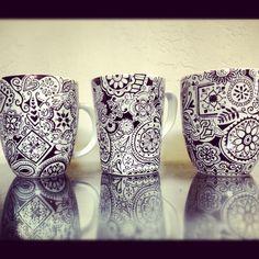 Sharpie-decorated mugs