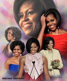 This historical montage by Wishum Gregory feautres the first African-American first lady in the history of the United States of America. Michelle Obama always looks so classy to me. Obama Art, Barak And Michelle Obama, American First Ladies, American Art, American History, American Fashion, American Women, Native American, Barack Obama Family