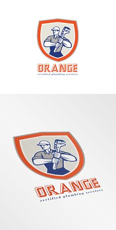 Orange Plumbing Services Logo. Logo showing illustration of a plumber holding a giant monkey wrench set inside shield facing front done in retro woodcut style on isolated background. 100%