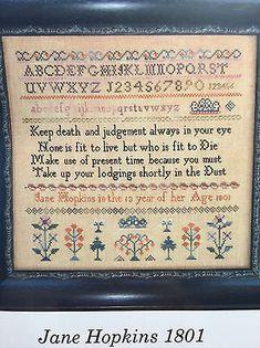 Scarlett House JANE HOPKINS 1801 sampler cross stitch pattern