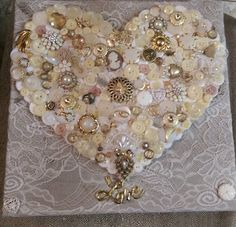 Shabby Chic Heart Button Art