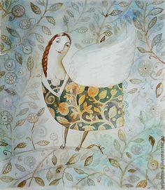 Купить Леденец - голубой, картина в подарок, картина для интерьера, картина акварелью, птица Сирин
