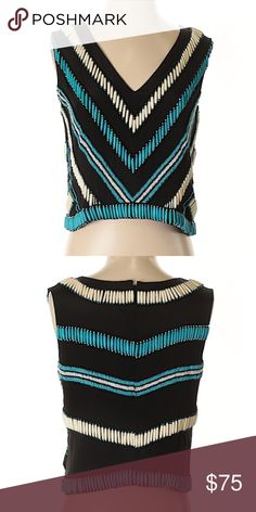 a9f42c05e0f47 Karina Grimaldi beaded top V-Neckline Sleeveless Black Beaded Chevron  Herringbone pattern Dry clean