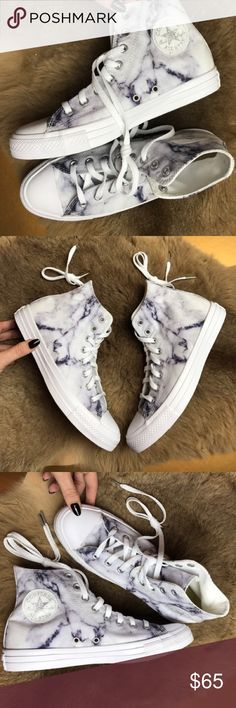 """NWT marble high top converse I bought these and realized afterwards I switched up the sizes. They're so beautiful I really wish I could have a pair.  Previous post: """"They're so Brand new no box custom marble converse price is firm size women's 9.5 men's 7.5 unisex Converse delivers the Chuck Taylor All Star Marble Collection. Each sneaker is constructed of a marble-printed, premium canvas that captures the luxurious and timeless aesthetic of the limestone."""" Converse Shoes Sneakers"""