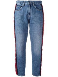 Shop Victoria Victoria Beckham side stripe jeans .