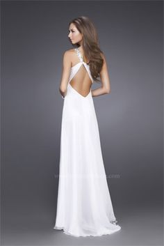 #LaFemme white one shoulder open back #prom gown www.pzazdresses.com