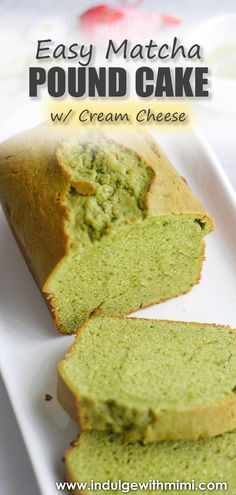 An easy matcha pound cake using minimal ingredients and simple baking steps. This addition of cream cheese make this green tea cake extra tender. It can be kept at room temperature and transports easily for tea time, parties and edible gifts. #greentea #matchacake #tea #poundcake #cake #matchapoundcake #hightea Easy Desserts, Delicious Desserts, Dessert Recipes, Dessert Ideas, How To Make Cheese, How To Make Cake, Matcha Cake, Cream Cheese Pound Cake, Desert Recipes