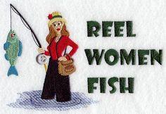 Reel Women Fish design (X3815) from www.Emblibrary.com