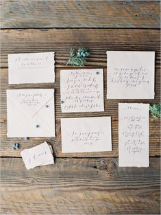 wedding calligraphy -- an invitation set done on organic rough edged linen paper