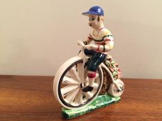 Vintage Man With Mustache on Penny-Farthing Bicycle Ceramic Planter - Japan