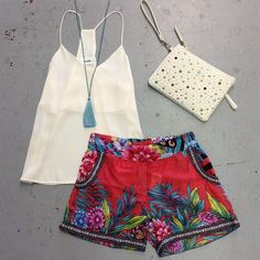 Hawaiian  floral printed shorts, white blouse tank, with wedges
