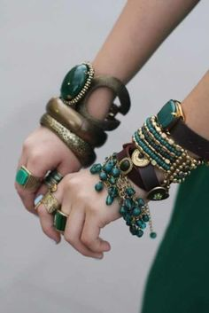 Boho chic bracelets.. what a great colour emerald green |petrol|turquoise