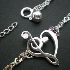 Music Love Heart Bracelet  Treble Clef Bass clef by yhtanaff, $40.00