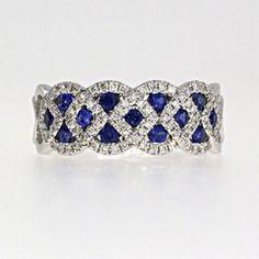 .89ct Sapphire Woven Diamond Ring - So pretty!