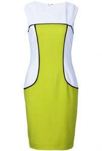 Yellow White Sleeveless Back Zipper Bodycon Dress