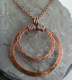 Copper double hammered ring pendant on belcher chain by BooJewels