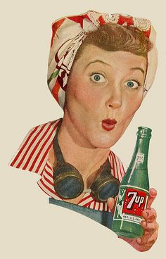 7up ad featuring war worker (World War II), 1944
