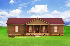 Plan Small House with Giant Family Room Acadian House Plans, Ranch House Plans, House With Porch, House Roof, Gable Roof Design, Porch Kits, Building A Porch, Cottage Plan, Pole Barn Homes