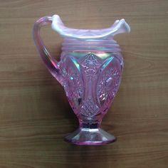 fenton pitchers | Fenton Pink Iridescent pitcher,