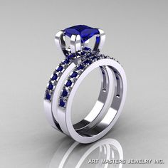 Classic French 14K White Gold 1.0 Ct Princess Blue by artmasters, $1799.00