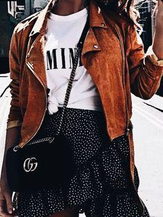 Polka dots + moto jacket.
