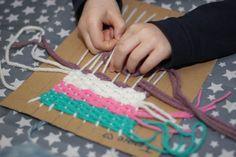 weven met kinderen, knutselen, diy, leren weven, weefraam maken, wol
