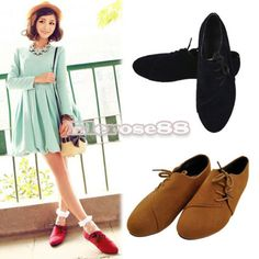 ElR8 Korean Spring Women's Casual Side Lace ups Retro Low Flats Shoes 3Colors