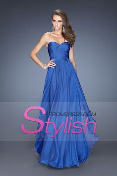 Concise 2014 Simple Prom Dresses Sweetheart Ruffled Bodice A Line Floor Length Chiffon