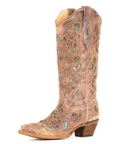 THIS is what I'm looking for for me. Except a purple inlay instead of Turquoise and white dots or rhinestones instead of the yellow.    I can't find any boots with a purple inlay!!!!!!!!!Corral Women's Brown Crater Turquoise Inlay & Studs Boot