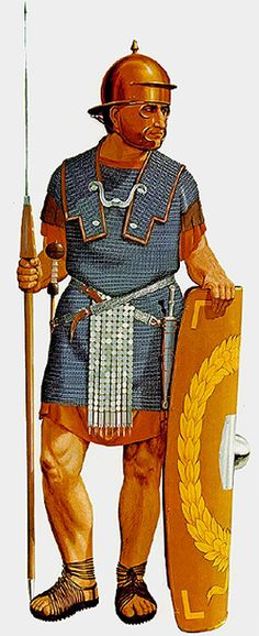 Legionary of the first half of the 1 st century AD armed with oval scutum squared off at top and bottom, Coolus type helmet, mail shirt, sword, dagger and pilum