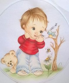 an easy way to make Baby Painting, Fabric Painting, Welcome Home Decorations, Fabric Paint Designs, Knitted Flowers, Dibujos Cute, Boy Pictures, Kids Patterns, Colorful Drawings