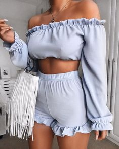 baby blue summer short and off the shoulder summer top #outfitideas #woman #fashionoutfits #fashionstyle #fashiontrendsoutfits #fashiontrends #fashion #dressesforwomen #fashiontrends2019