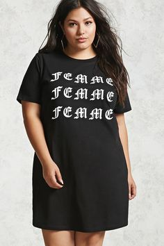 Plus+Size+Femme+T-Shirt+Dress