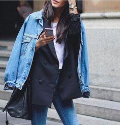 Denim jacket layered over a navy blazer, white t-shirt & skinny jeans | /styleminimalism/
