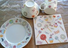 Candy crush Hand Painted Pottery, Painted Mugs, Painted Plates, Pottery Painting, Ceramic Painting, Ceramic Pottery, Inspiration Artistique, Baby Plates, China Clay