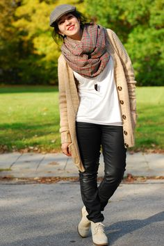 Casual: Cardigan and hat with scarf. Perf Perf. Key is shoes, white shirt and pin drop neck piece.