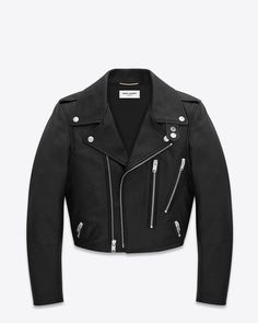 Saint Laurent Cropped Motorcycle Jacket In Black Leather   ysl.com