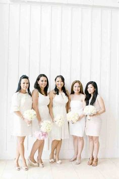 If you are planning a spring wedding and would like to use a fresh modern color for your bridesmaids, then give some thought to white bridesmaid dresses. There are many different ways to wear and accent white bridesmaid dresses. Cute Wedding Dress, Fall Wedding Dresses, Wedding Gowns, Bride Dresses, Neutral Bridesmaid Dresses, Wedding Bridesmaids, Wedding Story, Dream Wedding, Wedding Trends