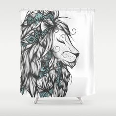 Poetic Lion Turquoise Shower Curtain #art #loujah #showercurtains #rideaudedouche #society6 #homedecor