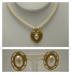 LOT OF 2 1928 JEWELRY SIGNED HEART PENDANT FAUX PEARL NECKLACE EARRINGS GOLDTONE #1928