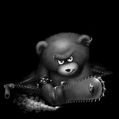 If you love fuzzy bunnies, huggable bears, and everything cute, then you won't want to see these grotesque manipulations that turn cute into wicked vile evil. Angry Bear, Beautiful Facebook Cover Photos, Digital Art Fantasy, Cool Wallpapers For Phones, Bear Art, Hey You, Bar, Say Hi, Cartoon Styles