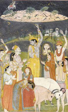 Khrisna levanta con una mano la montaña de Gavertonam
