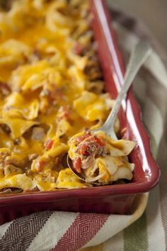 Paula Deen Cheeseburger Casserole = I make it 'grown up' style, with a couple of jalepenos, and extra Worcestershire. I also use shells, instead of flat noodles. We LOVE it!