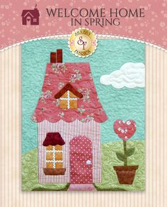 "There's nothing like home sweet home! Welcome Home in Spring is a delightful Shabby Fabrics original design that is sure to become a cherished family heirloom. This charming 56½"" x 64½"" quilt features Shabby Fabrics' debut fabric collection, Welcome Home Collection One! This applique'd quilt features quaint homes, rolling hills, grazing sheep and so much more! Simple but beautiful embroidery and embellishments add an extra special touch to this end..."