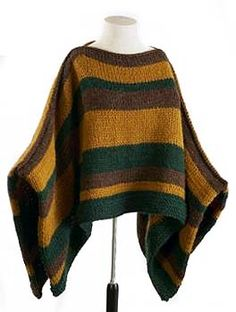 Ravelry: Man's Striped Poncho (crochet) pattern by Lion Brand Yarn free Poncho Au Crochet, Pull Crochet, Crochet Men, Crochet Poncho Patterns, Knitting Patterns Free, Free Knitting, Free Pattern, Free Crochet, Crochet Wraps