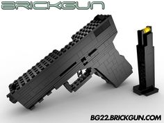 The BrickGun LEGO® BG22 with Magazine. Our handgun model that includes a removable magazine. Includes a working Hammer (internal), Trigger, Slide and Slide Lock. Details, kits and instructions available at http://BG22.BrickGun.com #lego #guns