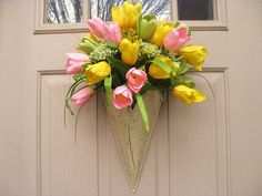Spring Wreath  Easter Wreath  Tulip Wreath  Pink by AWorkofHeartSA, $60.00