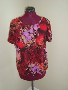 White Stag Sz XL Red Black Purple Floral Stretch Knit Top Short Sleeves #WhiteStag #KnitTop