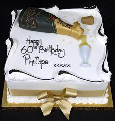 Birthday Cake Wine, Square Birthday Cake, Champagne Birthday, Champagne Cake, Birthday Cakes For Men, Birthday Brunch, 80th Birthday, Cristal Champagne, Poker Cake