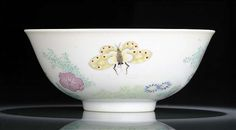 A very fine and rare fencai porcelain bowl with butterflies, flowers and insects, China, underglaze blue Daoguang seal mark and period
